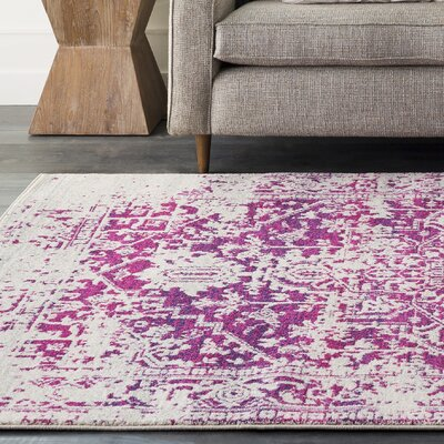 Hillsby Pink/Beige Area Rug Rug Size: Rectangle 93 x 126