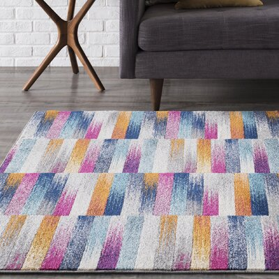 Andover Orange/Blue Area Rug Rug Size: Rectangle 53 x 73