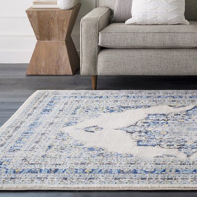 Hillsby Oriental Geometric Blue/Beige Area Rug Rug Size: Rectangle 93 x 126