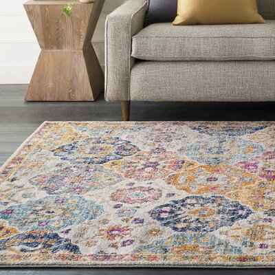 Hillsby Orange/Blue Area Rug Rug Size: 93 x 126