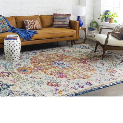 Hillsby Saffron/Blue Area Rug Rug Size: Rectangle 93 x 126