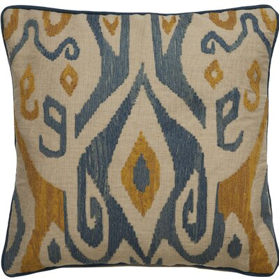 Jadon Tribal Pattern Cotton Throw Pillow Color: Ivory / Aegean Blue