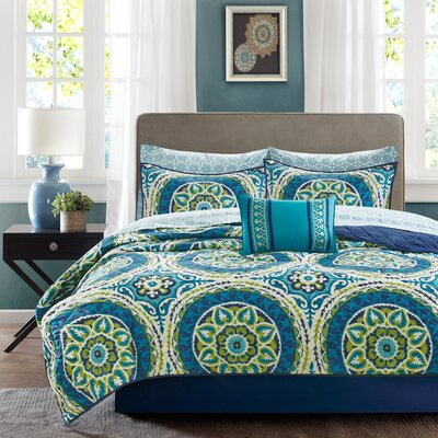 Taddart Quilt/Coverlet Set Size: California King, Color: Blue
