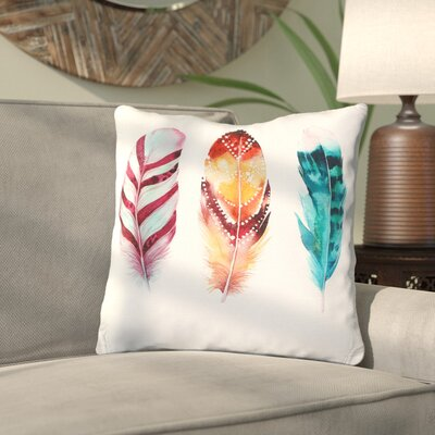 Edna Printed Feathers Decorative Throw Pillow