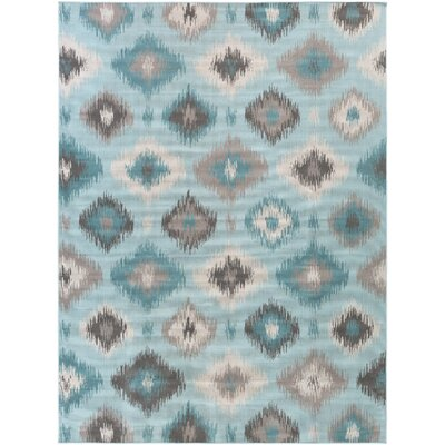 Clementina Teal/Beige Area Rug Rug Size: 68 x 98