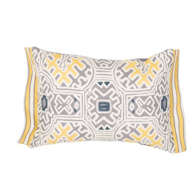 Jermaine Tribal Pattern Lumbar Pillow Color: Yellow / Ivory