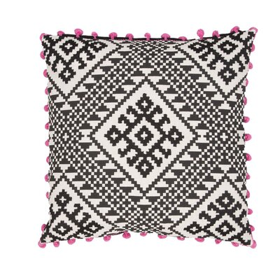 Jermaine Tribal Pattern Cotton Throw Pillow Color: Black / Pink