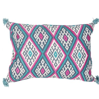 Jermaine Tribal Pattern Lumbar Pillow Color: Blue / Pink