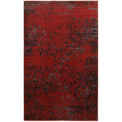 Fayme Red/Black Area Rug Rug Size: 79 x 95