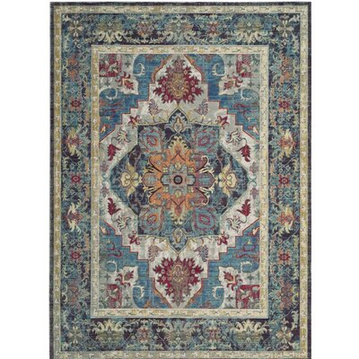 Norwood Blue/Red Area Rug Rug Size: 33 x 53