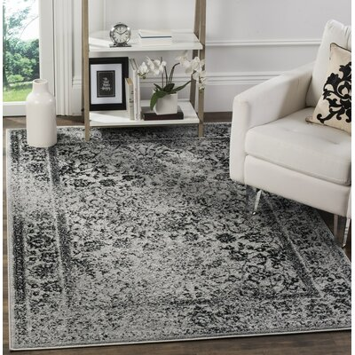 Norwell Gray/Black Area Rug Rug Size: 4' x 6'