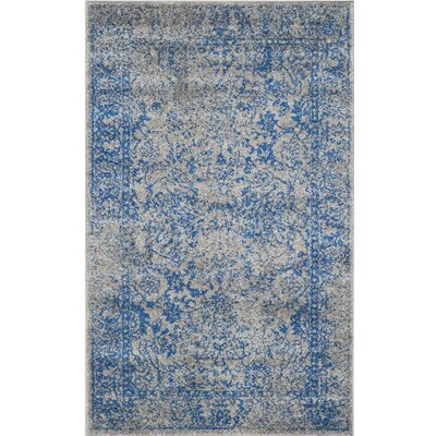 Norwell Gray/Blue Area Rug Rug Size: Rectangle 9 x 12