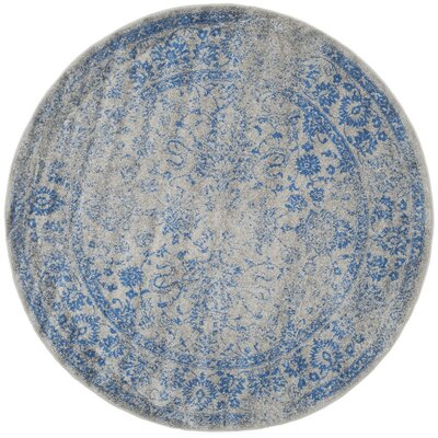 Norwell Gray/Blue Area Rug Rug Size: Round 6'