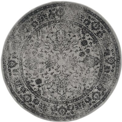 Norwell Gray/Black Area Rug Rug Size: Round 6'
