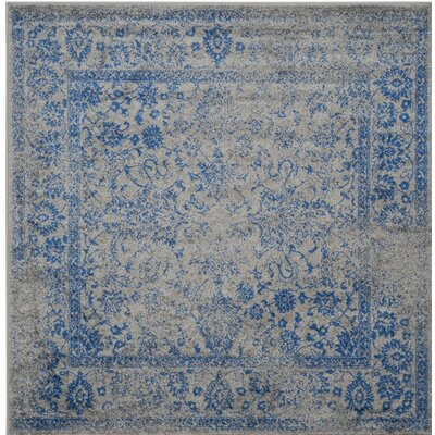 Norwell Gray/Blue Area Rug Rug Size: Square 6'