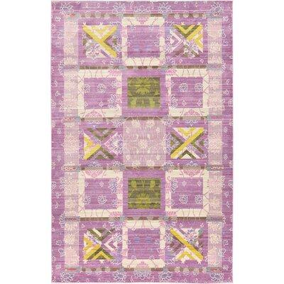 Rune Purple Area Rug Rug Size: 5 x 8