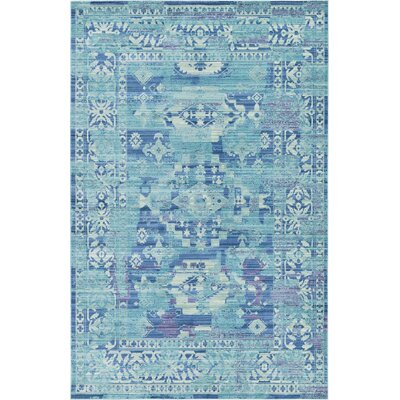 Bungalow Rose Rune Light Blue Area Rug