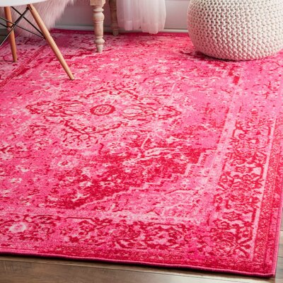 Decker Pink Area Rug Rug Size: 3 x 5