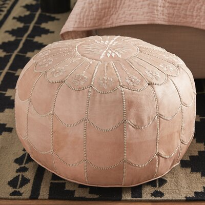 Mouassine Scalloped Pouf Leather Ottoman Upholstery: Natural