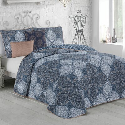 Rhett 5-piece Quilt Set Size: King, Color: Blue