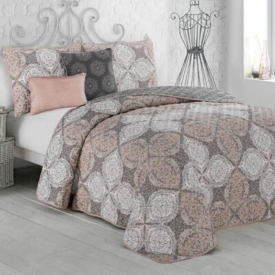 Rhett 5-piece Quilt Set Color: Blush, Size: Queen