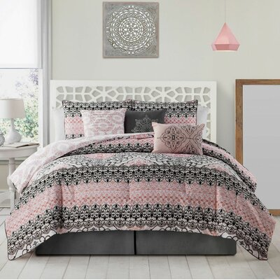 Madden 7 Piece Comforter Set Color: Pink, Size: Queen