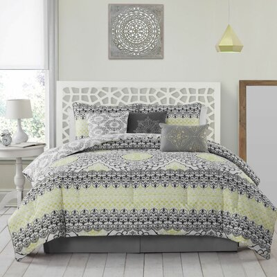 Madden 7 Piece Comforter Set Color: Lime, Size: Queen