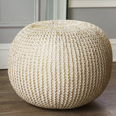 Clarkdale Pouf Upholstery: Bone with Gold Foil
