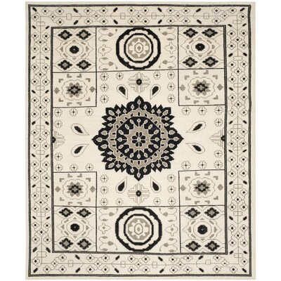 Hawke Hand-Knotted Ivory/Gray Area Rug Rug Size: Rectangle 9 x 12