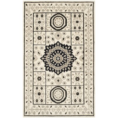 Hawke Hand-Knotted Ivory/Gray Area Rug Rug Size: Rectangle 5 x 8
