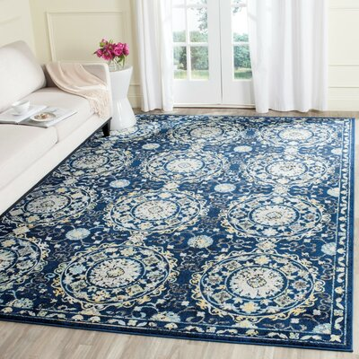 Bissen Navy/Ivory Area Rug Rug Size: Rectangle 9' x 12'