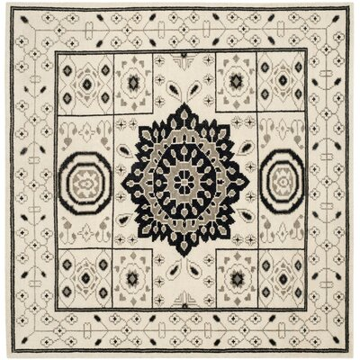 Hawke Hand-Knotted Ivory/Gray Area Rug Rug Size: Square 7