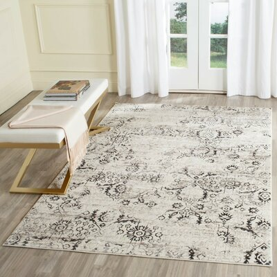 LeClaire Charcoal / Cream Area Rug Rug Size: 51 x 76