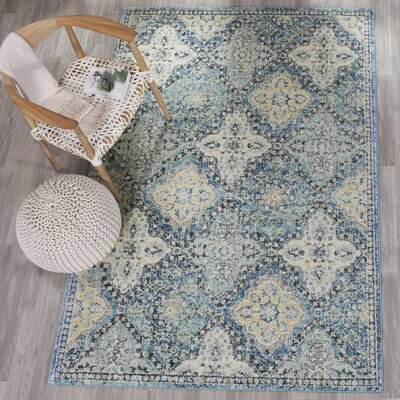 Bissen Light Blue/Ivory Area Rug Rug Size: Runner 22 x 11