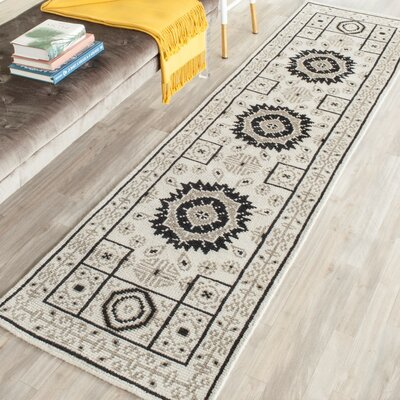 Hawke Hand-Knotted Ivory/Gray Area Rug Rug Size: Runner 23 x 8