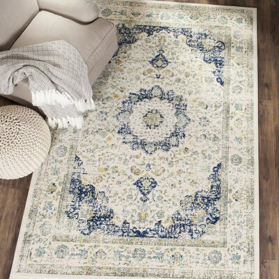 Elson Ivory & Blue Area Rug Rug Size: Rectangle 67 x 9