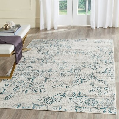 Marissa Blue/Creme Area Rug Rug Size: Rectangle 4 x 6