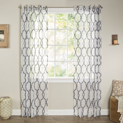 Bungalow Rose Tripoli Embroidered Geometric Sheer Grommet Single Curtain Panel
