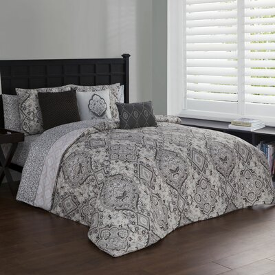 Fontane 10 Piece Reversible Bed in a Bag Set Size: King, Color: Taupe