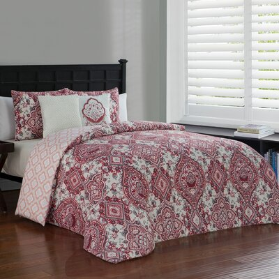 Fontane 5 Piece Reversible Duvet Cover Set Size: Queen, Color: Red