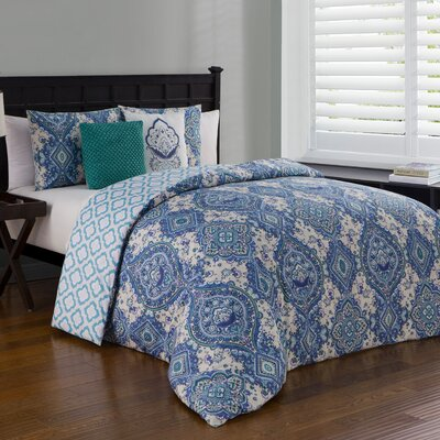 Adjani 5 Piece Reversible Duvet Cover Set Size: Queen, Color: Teal