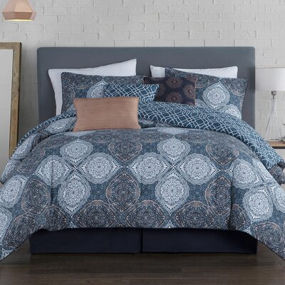 Khadija 5 Piece Reversible Duvet Cover Set Color: Blue, Size: Queen