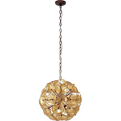 Asherton 12-Light Geometric Pendant Glass Color: Amber Murano
