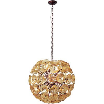 Asherton 20-Light Geometric Pendant Glass Color: Amber Murano