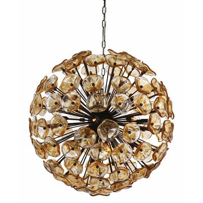 Asherton 28-Light Geometric Pendant Finish: Bronze/Amber