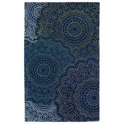 Infinity Navy Floral Wool Hand-Tufted Area Rug