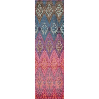 Denissa Hand-Loomed Red Area Rug Rug Size: Runner 23 x 76