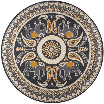 Almere Gold Indoor/Outdoor Area Rug Rug Size: Round 9