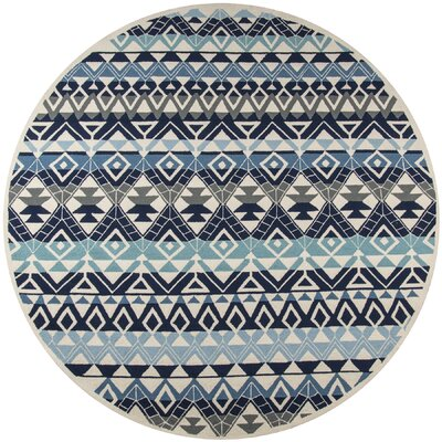 Almere Blue Indoor/Outdoor Area Rug Rug Size: Round 9