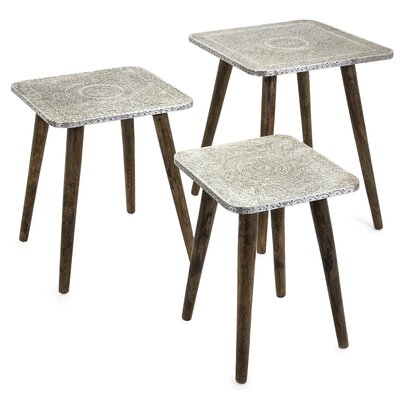 Zierikzee Piers Metal Clad 3 Piece Nesting Tables